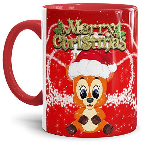 Tassendruck Weihnachtstasse Merry Christmas Farbtasse Innen und Henkel Rot mit Rentier - Kaffeetasse/Mug/Cup - Qualität Made in Germany