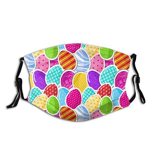 Masque de Pâques en forme de croix réutilisable et lavable avec boucles d'oreilles réglables et 2 filtres pour adulte (œufs de Pâques)