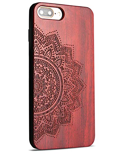Compatible for iPhone 7/8 Plus Wooden Case, Wood Engraving Floral Shock Absorbing Hybrid Full Protective Case for iPhone 7 Plus/iPhone 8 Plus