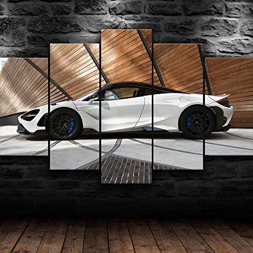 45Tdfc 5 Paneles Arte GráFica Pintura Pared White 2021 McLar 765 Supercar ImáGenes para DecoracióN Moderna Hogar Mural Salon Dormitorio150*80Cm Marco