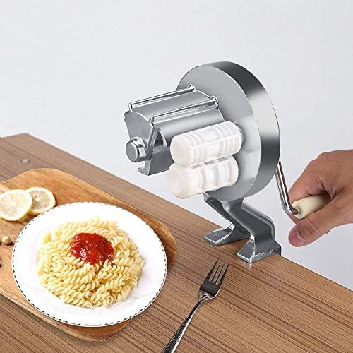 Manual Pasta Maker Hand Crank Noodle Machine Aluminium Alloy Home-made Macaroni Noodle Pasta Press Machine for Kitchen Spaghetti Fettucini, Gnocchi, Risotto