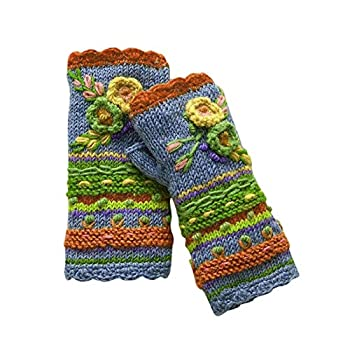 Vintage Multicolor Knitted Gloves with Floral Fingerless Gloves Knit Gloves for Girls Women Warm Hand Warmers Orange