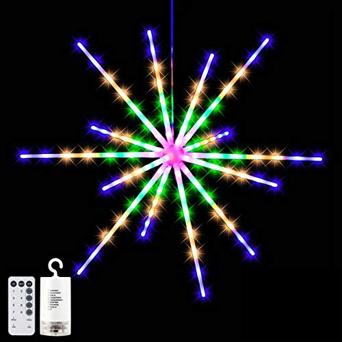 Firework Lights 112 LED Hanging Starburst Lights Led Copper Wire Fireworks Lights 8 Modes Battery Operated Fairy String Lights with Remote Control Decorative Hanging Christmas Lights for Party