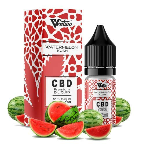 Premium CBD Liquid Watermelon Kush von Ventura | E Liquid für E Zigaretten & E Shishas | CBD Liquid ohne Nikotin | Made in Germany | rein natürliche Terpene | 600mg CBD