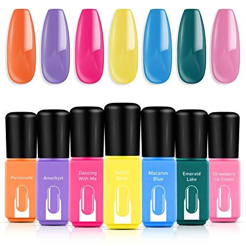 Modelones Gel Nail Polish Set - 7 Color Gel Nail Polish 6ml Mini Size, Candy Summer Series Nail Art Boxes...
