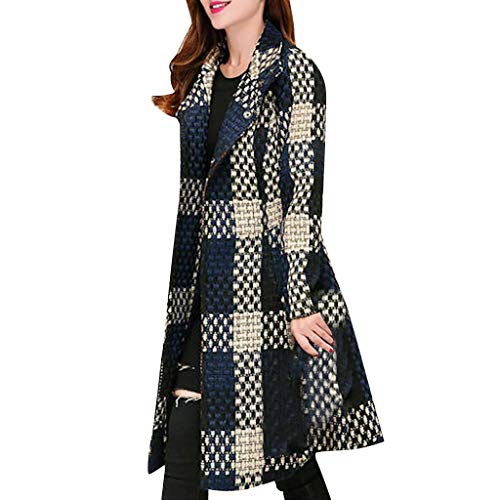 FRAUIT Wollmantel Damen Gitter Wolle Parka Wintermantel Frauen Stricken Trenchcoat Kleidung Lange Mantel Schlanke Mode Elegant Freizeit Streetwear Kleidung Bluse Tops Outwear (XXL, Marine Lange)