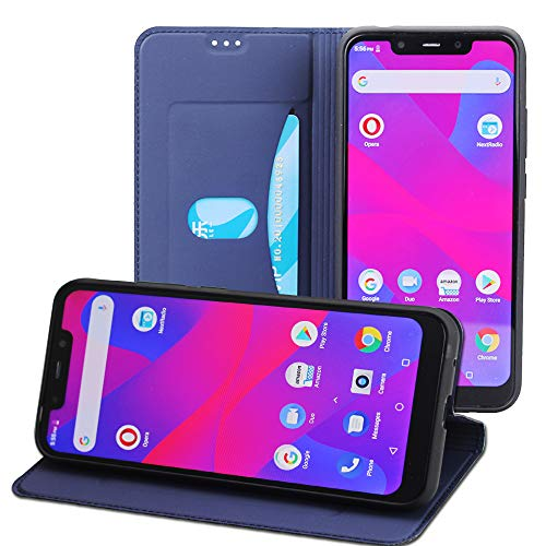 Acvensity Case for BLU VIVO XL4 case, Slim Design Style PU Cover + TPU Back Stand Case Only Suitable for BLU VIVO XL4 Smartphone(Black) (Navy Blue)