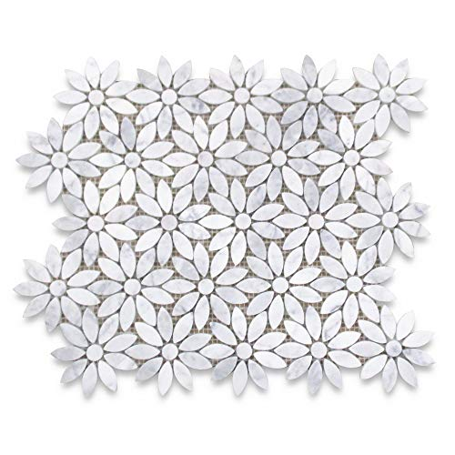 Stone Center Online Carrara White Marble Daisy Flower Pattern Mosaic...