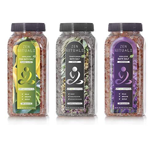 Badesalz-Set Zen Rituals - Himalaya-Salz mit Bio-Lavendel, Ylang-Ylang-Rosa-Salz mit Mineralien und Salz Siebenbürger Bittersalz mit Heilkräutern - Packung 3 Flaschen, 3 kg