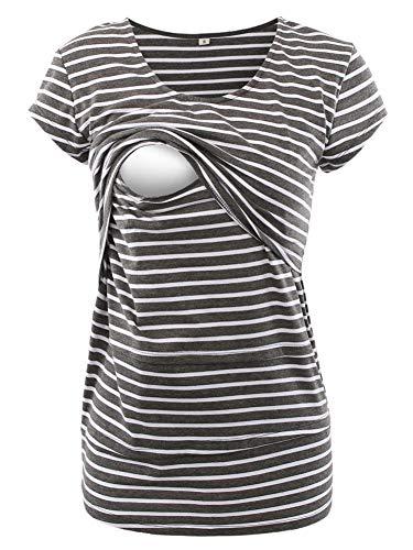 Love2Mi Frauen Umstandsmode Layered Unregelmäßige Pflege Shirt Stillshirt Kurzarm zum Stillen, Dunkelgraue Weiße Streifen, S