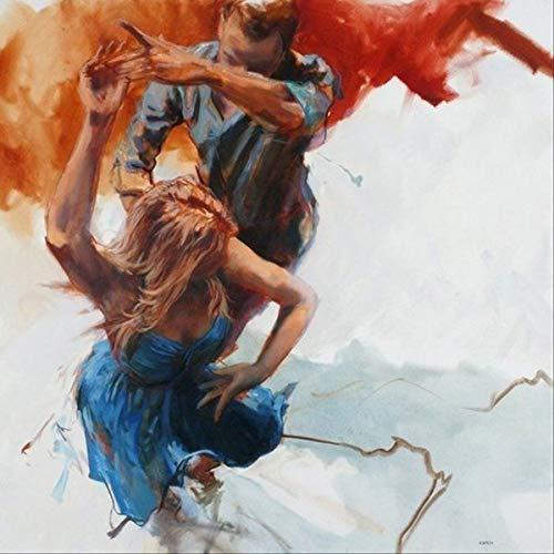 yaoxingfu Frameless Sophie Beautyoil ng Platz Arbeitsöl und Liebhaber tanzen Familienkunst 60x90cm