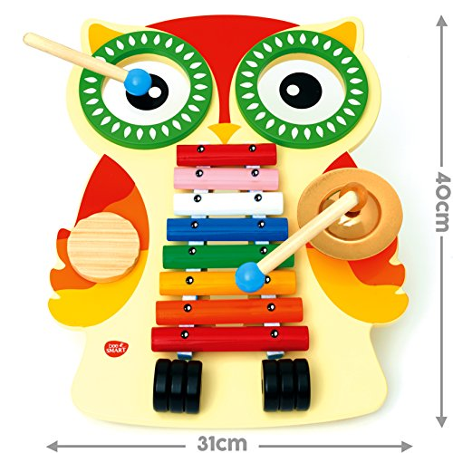 Musical Instruments for babies , Wooden Toy Musical Table with Xylophone, 2 Drums, Cymbal, Guiro and 2 Beaters - Music set for toddlers; Baby Musical Instruments Educational Wooden Toy Percussion Sound Toy Gift for Toddlers in Owl Shape Design