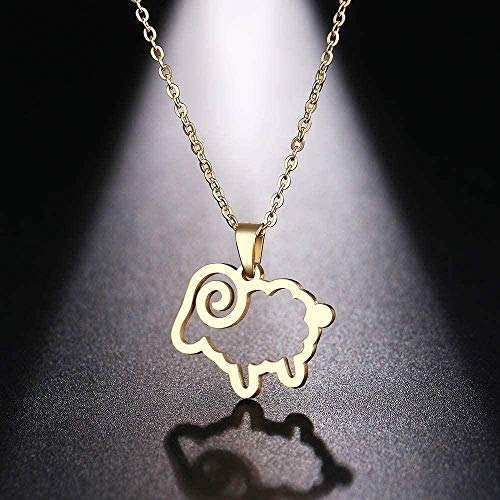 FACAIBA Necklace Stainless Steel Necklace for Women Men Cute Sheep Cross Pendant Necklace Engagement Jewelry Chain Pendant for Women and Men