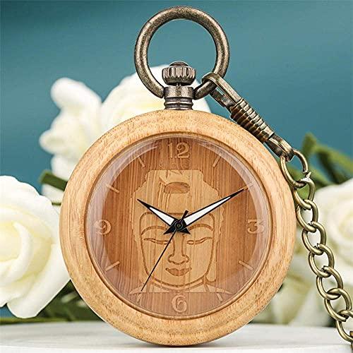 Reloj de Bolsillo de Madera de bambú de Buda, Collar de Bolsillo Retro de Bronce, Cadena, Colgante de Madera Pura para Hombres y Mujeres