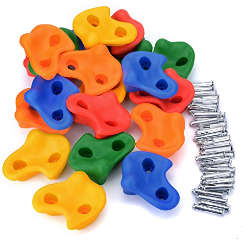 Odoland 20 Stück Klettersteine Kinder Gleicher Form Klettergriffe mit Befestigungsmaterial für Spielturm Kletterwand