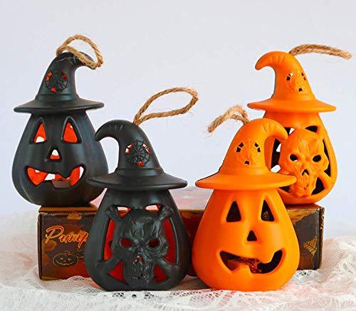 XXLYY Kürbis-Kerzenlicht, Pony-Licht, 4 Stück, Halloween-Kürbis-Laterne, LED-Lampe, bunt, blinkend, Horror-Schädel-Lampe, neuer Kürbis-Kerzen-Licht, Pony-Laterne