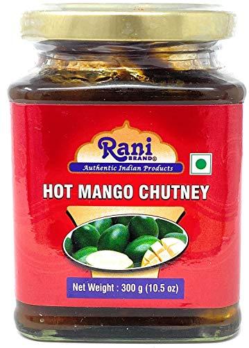 Rani Hot Mango Chutney (Spicy Indian Preserve) 10.5oz (300g) Glass Jar, Ready to eat, Vegan ~ Gluten Free Ingredients, All Natural, NON-GMO