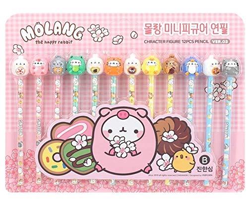 Molang Mini Figure pencil set Korean Stationery 12ea 1 set Ver.03