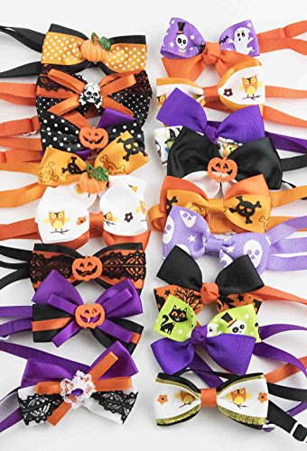 PET SHOW Halloween Adjustable Cute Puppy Cats Small Dogs Bow Ties Collar Hallowmas Bowties Neckties Pet Grooming Accessories Assorted Randomly Pack of 50