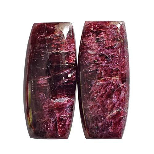 AAAA+ - Par de cabujón de Eudialyte natural, talla 27 x 12 x 5 mm, piedra para pendientes, joyería, piedras preciosas sueltas AG-13697