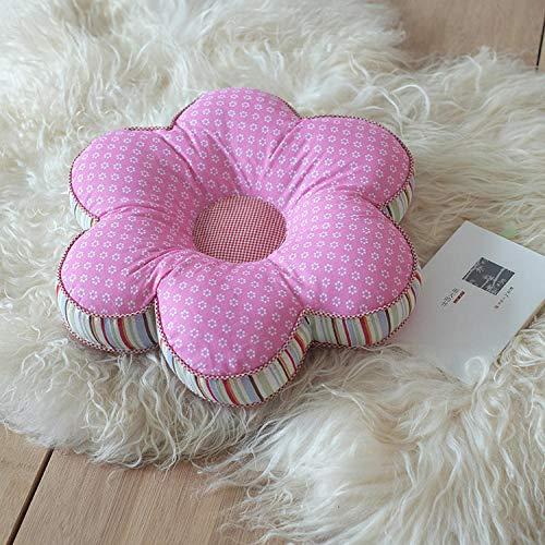 QIANBAOBAO bloemenvorm kussen autostoel kussen wooncultuur verdikking bureaustoel kussen decoratieve kussen voor bank roze bloemen_40X40cm