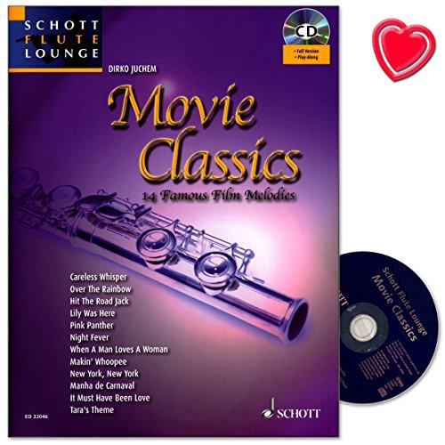 Movie Classics - 14 bekannte Film-Melodien für Flöte und Klavier - eine breite Auswahl unvergessener Klassiker der Filmgeschichte - Notenbuch mit CD, eingelegter Klavierstimme und Notenklammer