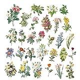BYFRI 60 PC/Etiqueta Conjunto De Bricolaje Diario del álbum Palo Sticker Flores Vintage Etiquetas Engomadas Decorativas Regalo De Scrapbooking para El Partido