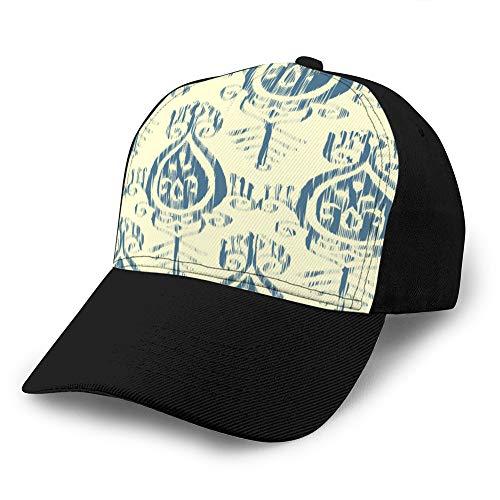 hyg03j4 3018 Hut Baumwolle Baseball Cap Plain Cap Verstellbare Kappe nahtloses Ikat-Muster blau und Creme Plain Cap
