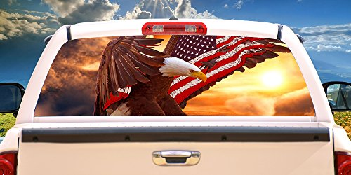 SignMission Bald Eagle Flag Rear Window Graphic Truck View Thru Vinyl Decal, 22'...