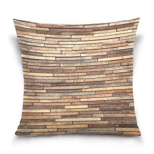 HMZXZ Funda de almohada decorativa de madera marrón abstracta de 45,7 x 45,7 cm, para sofá, dormitorio, sala de estar