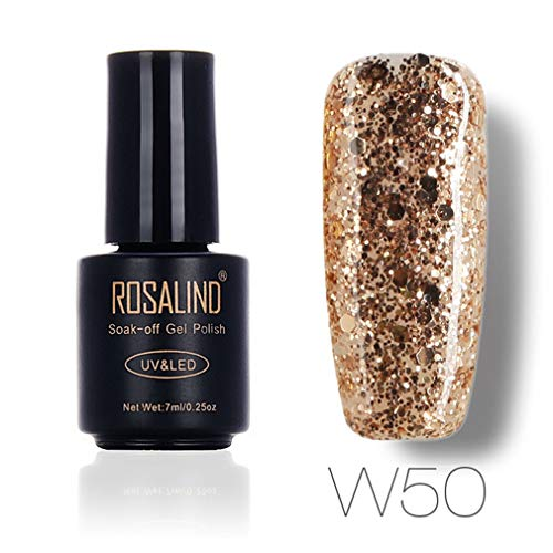 Rosalind 7ml Diamantgel-Lacke Hybrid-Nägel Art Semi Permanent Soak aus UV-Gel-Nagellack-Set für Maniküre Grundierung Top