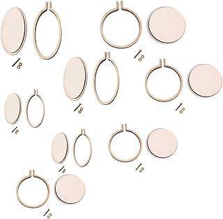 Healifty 8pcs Mini Stickrahmen Stickrahmen rund und oval Kreuzstich Creolen für Kunsthandwerk handliches Nähen und Aufhängen