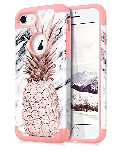 Dailylux iPhone 7 Case,iPhone 8 Case Marble Pineapple Pattern Girls Women Men Floral Slim Hybrid Hard PC Soft Silicone Anti-Slip Shockproof Protective Case for iPhone 7/8 4.7' Marble Rose Gold