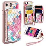 ZVE Wallet Case for Apple iPhone 8 and iPhone 7, 4.7 inch, Zipper Wallet Case with Credit Card Holder Slot Handbag Purse Wrist Strap Print Case for Apple iPhone 8/7 4.7 inch - Mermaid Wall