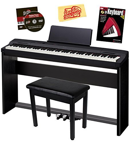 Casio Privia PX-160 Digital Piano - Black Bundle with CS-67 Stand, SP-33 Pedal, Furniture Bench, Instructional Book, Austin Bazaar Instructional DVD, and...