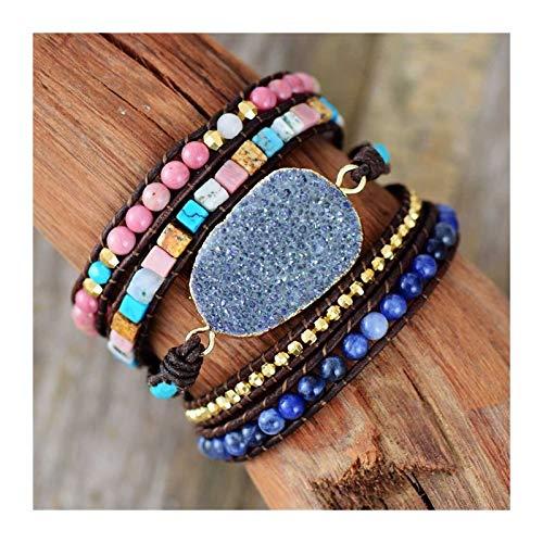 Pulseras de Cuero de Las Mujeres Piedras Naturales únicas Dorado Charm 5 Strands Wrap Bracelets Hecho a Mano Boho Pulsera Accesorios