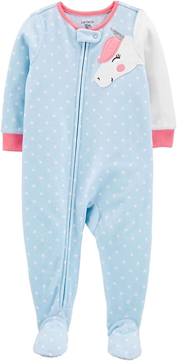 Carter's Toddler Girl's Fleece Unicorn Polka Dot Pajama Sleeper