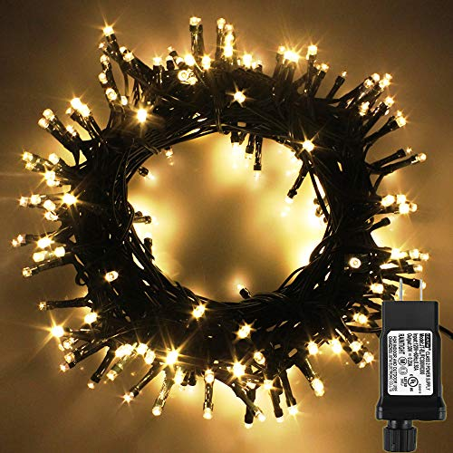 PMS LED String Lights on Dark Green Cable with 8 Light Effects, 108Ft 300 LED Warm White Low Voltage Christmas Lights. Ideal for Indoor Decoration, Christmas, Party, Wedding, etc.