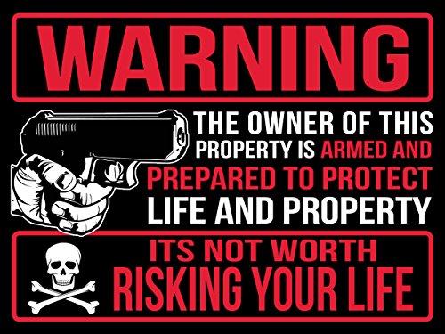 "Back/Front Adhesive Indoor/Outdoor Sticker (2 Pack) 3"" X 4"" Protected by Armed Property Owner Home Business Window Door 2nd Amendment Gun Handgun Pistol Warning Decal Sticker Gun (Black)"