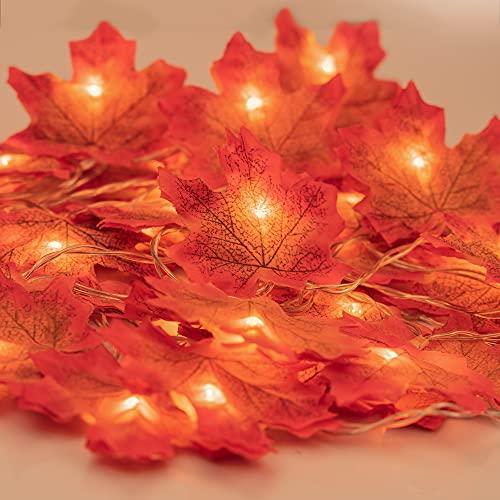 Ahornblatt Lichterketten, Maple Leaf Lichterketten Ahornblätter Girlande, 2 M/ 20 Led Girlande Lichterkette Batterie 3AA, Herbst Blätter Lichterketten...