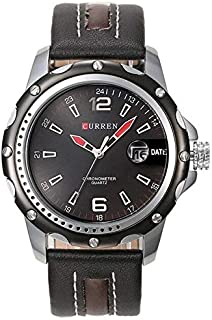 CURREN Watch Black Leather with Brouwn line and silver frame Model M8104