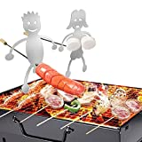 Hot Dog Roaster, Beauty Hao Hot Dog Roaster, Stainless Steel Barbecue Camp Fire Skewer Stick Fork Hot Dog Guys Grill Boy Girl Marshmallow Corn Skewer Roaster Camping Cooker. (Girl + Hot Dog Boy)