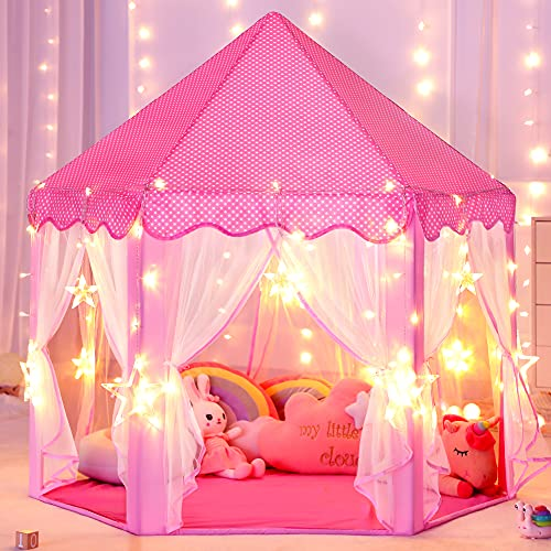 Sumbababy Princess Castle Tent for Girls Fairy Play Tents for Kids Hexagon Playhouse with Large Star...