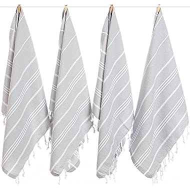 (Set of 4) Turkish Cotton Hand Face Head Gym Yoga Towel Set Wash Dish Cloths - 4 Grey
