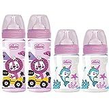 Chicco Antikolik Flaschen Set rosa, Anti-Kolik Babyfläschchen 4er Pack ab Geburt bis 6 Mo.'Mama-Effekt' Silikon Sauger 0m+ & 2m+, 2 x 150 ml & 2 x 240 ml, Made in Italy