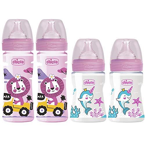Chicco Set di 4 biberon anti-coliche rosa anti-coliche per bambini dalla nascita fino a 6 Mo.Effetto...