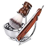 Grooming Shaving Set for Men, Strong Brush Stand + Straight Razor + Shaving Brush + Perfect Stainless Soap Bowl,For Guaranteed Best Shave of Your Life, Nice Gift for Dad, boyfriend, Husband