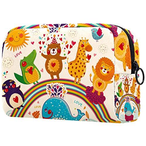 Neceser de viaje, bolsa de viaje impermeable de alta calidad con cremallera mejorada, diseño de oso de animales de dibujos animados, pingüino, arco iris