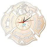Fire Department Wall Clock Made of Wood Proffessional Decor Merchandise Life Fire Servise Profession Home Artwork Gifts Great Ideas for Firefighter