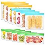 Houkiper Bolsas de Silicona Reutilizables, 12 Pack Bolsas Congelar para Almacenamiento de Alimentos, Bolsas Hermeticas, Bolsas para Alimentos para Bocadillos, Sándwich, Frutas,Sin BPA